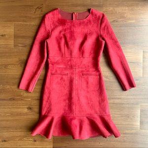 Suede Dress Ruffle Hem Long Sleeve Vintage Maroon